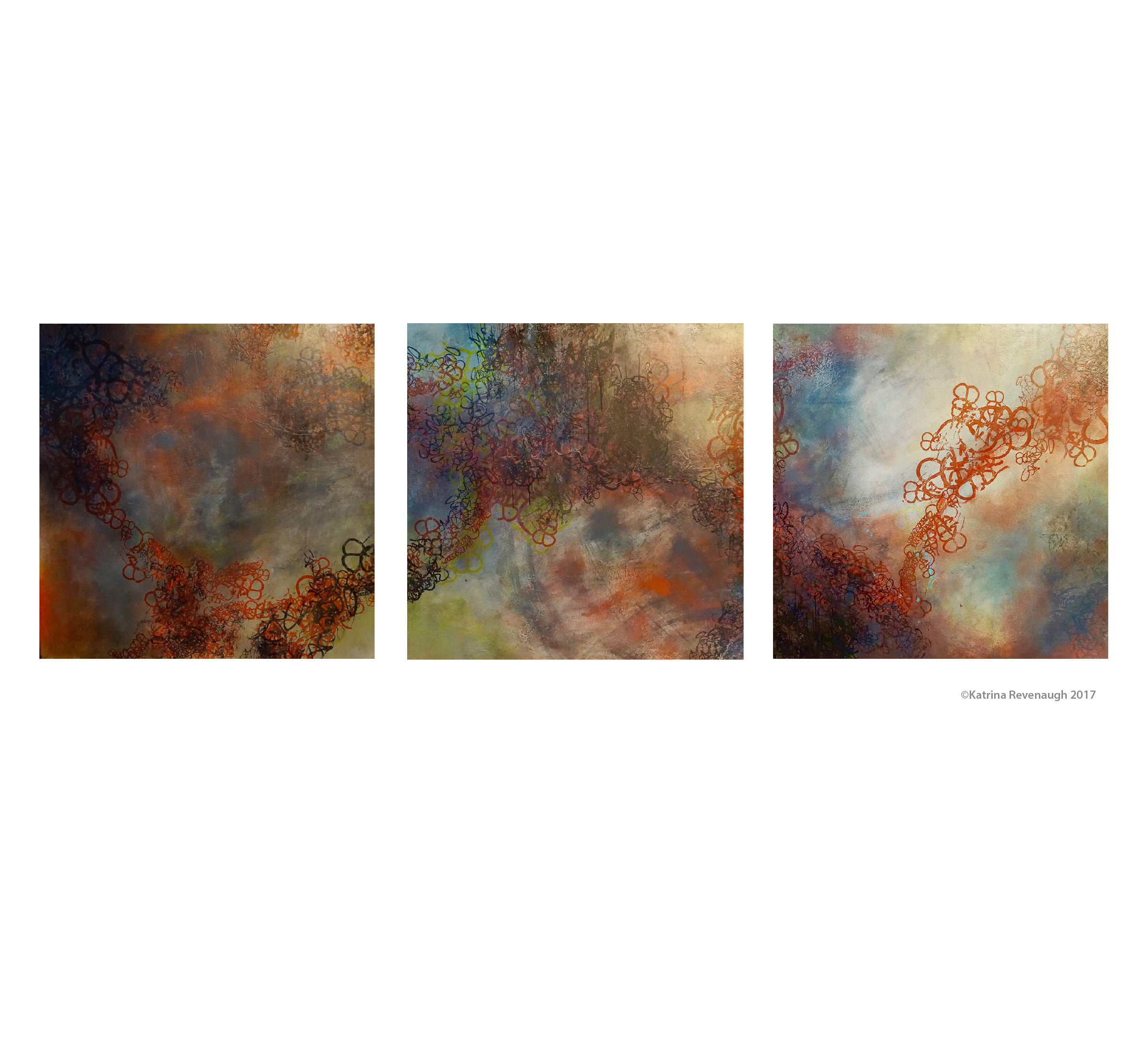 """Triptych: Connected No. 4, 5 & 6 48"""" x 48"""" Mixed Media/Hand Printing on Birch"""