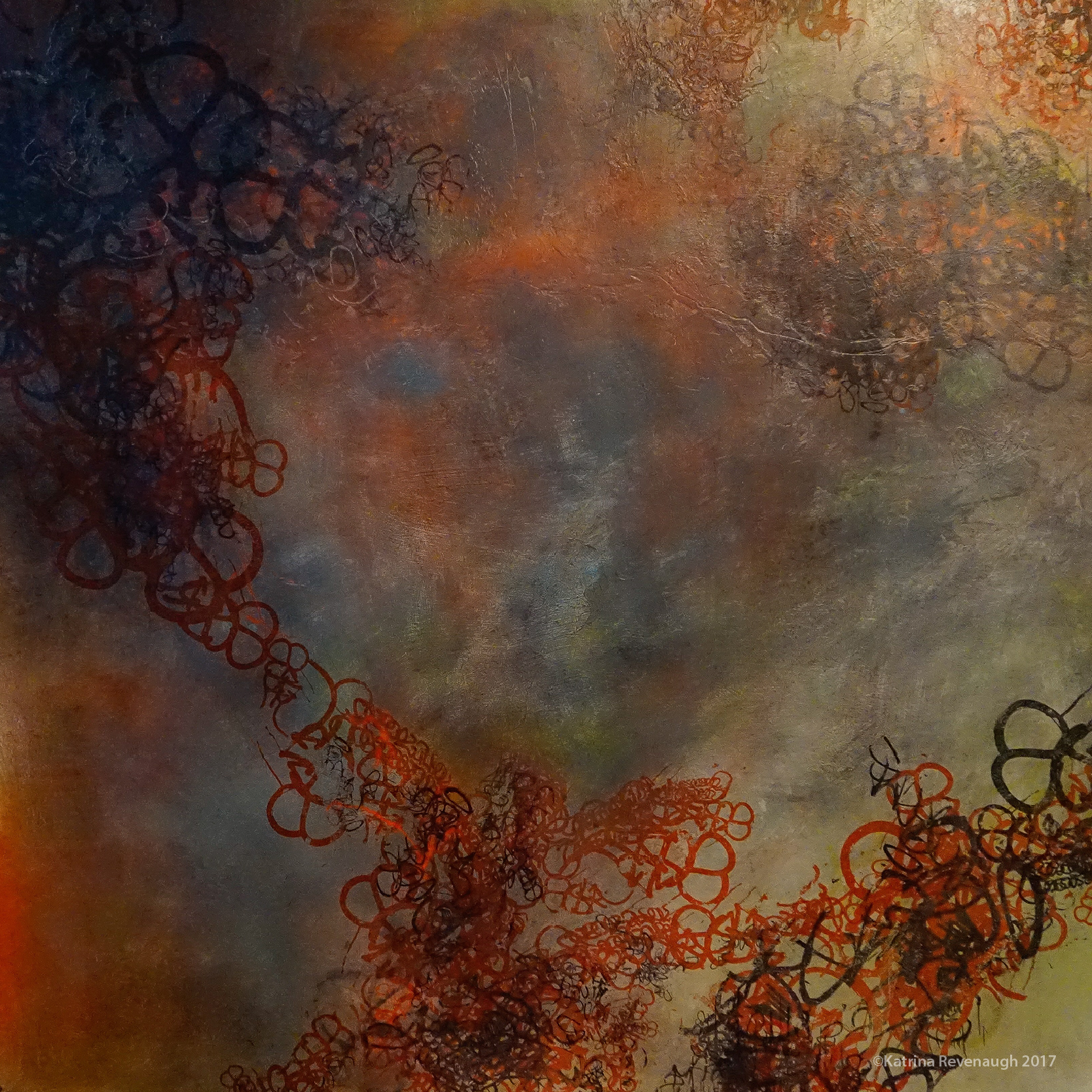 """Connected No. 4 48"""" x 48"""" Mixed Media/Hand Printing on Birch"""
