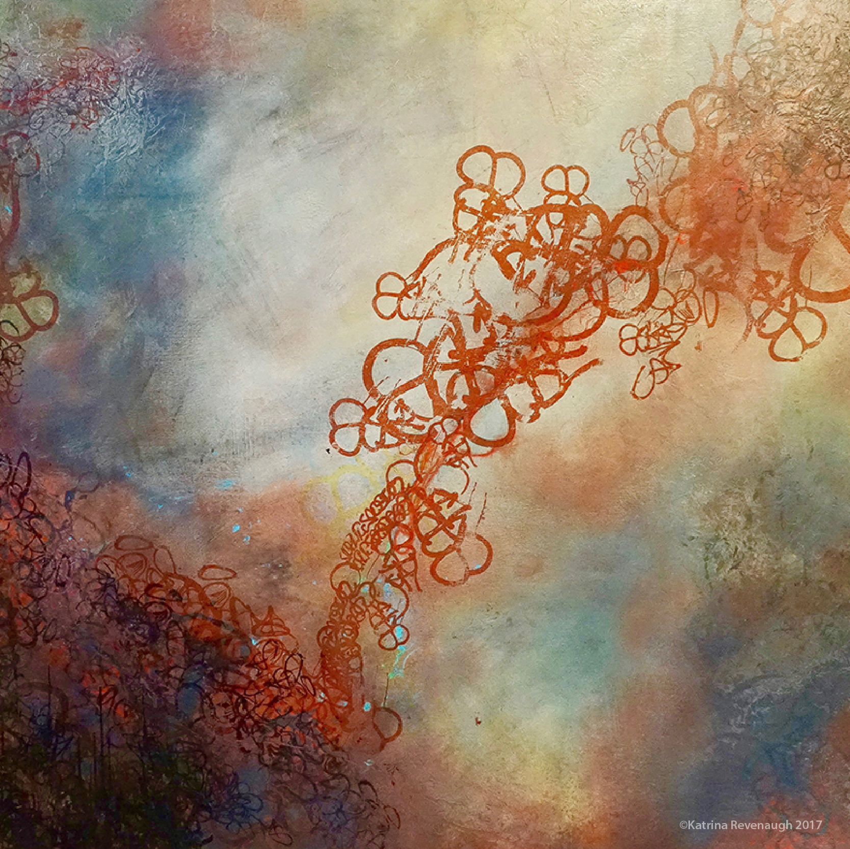 "Connected No. 6 48"" x 48"" Mixed Media/Hand Printing on Birch"