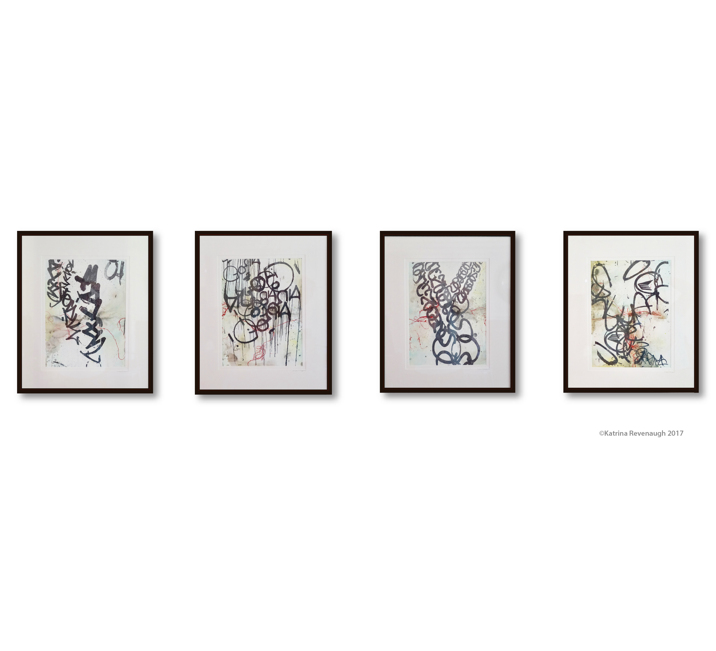 Connected No. 8, 9, 10 & 11 Mixed Media on Paper Framed